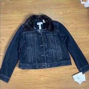 Liz Claiborne Jean Jacket Size L detachable Fur